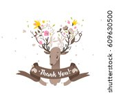 thank you card. deer with... | Shutterstock .eps vector #609630500