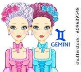 zodiac sign gemini. fantastic... | Shutterstock .eps vector #609639548
