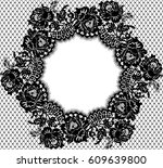 vector lace circle frame | Shutterstock .eps vector #609639800