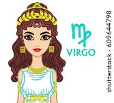 zodiac sign virgo. fantastic... | Shutterstock .eps vector #609644798