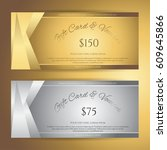elegant gift voucher or gift... | Shutterstock .eps vector #609645866