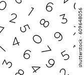 monochrome numeral seamless...   Shutterstock .eps vector #609648056