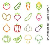 set of vegetables icons. vector ... | Shutterstock .eps vector #609648974