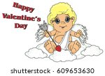 happy cupid sit on the sky with ... | Shutterstock . vector #609653630
