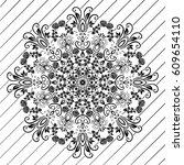 beautiful white mandala.... | Shutterstock .eps vector #609654110