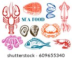 various seafood set.... | Shutterstock .eps vector #609655340