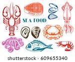 various seafood set....   Shutterstock .eps vector #609655340