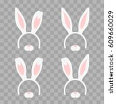 set of easter mask with rabbit... | Shutterstock .eps vector #609660029