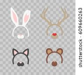 cartoon cute headband with ears ... | Shutterstock .eps vector #609660263