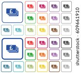pound banknotes color flat... | Shutterstock .eps vector #609661910