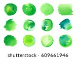 vector set of green abstract... | Shutterstock .eps vector #609661946