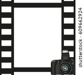 black photo frame with a camera ... | Shutterstock .eps vector #609662924