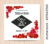 wedding invitation card... | Shutterstock .eps vector #609663560