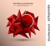 3d low polygon geometry... | Shutterstock .eps vector #609664484