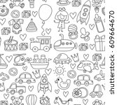 vector doodle set with toys for ... | Shutterstock .eps vector #609664670