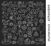 vector doodle set with toys for ... | Shutterstock .eps vector #609664844