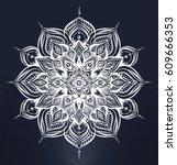 stylized floral mandala.... | Shutterstock .eps vector #609666353