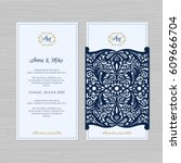 wedding invitation or greeting... | Shutterstock .eps vector #609666704