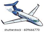 cartoon jet airliner | Shutterstock .eps vector #609666770