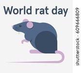 world rat day. flat vector... | Shutterstock .eps vector #609666809