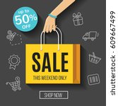sale banner with shopping bag ... | Shutterstock .eps vector #609667499