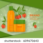 cream and lotion bottles with... | Shutterstock .eps vector #609670643