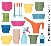 indoor gardening icons....   Shutterstock .eps vector #609671444