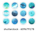 nature painting circles with... | Shutterstock .eps vector #609679178