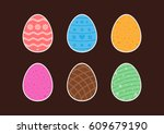 set of stickers easter eggs... | Shutterstock .eps vector #609679190