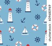 marine seamless pattern. vector ... | Shutterstock .eps vector #609680969