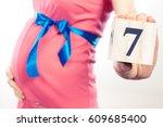 vintage photo  pregnant woman... | Shutterstock . vector #609685400