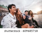 group of young people having... | Shutterstock . vector #609685718
