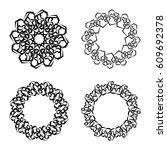 round frames  wheels or... | Shutterstock .eps vector #609692378