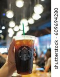 Small photo of THAILAND, BANGKOK - MARCH 26 2017: Iced Americano in Starbucks Coffee Shop. At Siam Square One Shopping Mall.