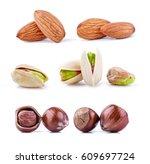 almonds  pistachios and...   Shutterstock . vector #609697724