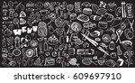 hand drawn food elements. set...   Shutterstock .eps vector #609697910