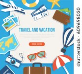travel and vacation concept web ... | Shutterstock .eps vector #609698030