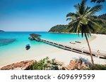 sunny day on the idyllic beach. ... | Shutterstock . vector #609699599