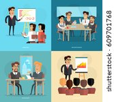 business meeting and... | Shutterstock .eps vector #609701768