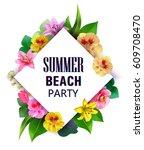 customizable vector floral... | Shutterstock .eps vector #609708470
