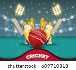 cricket event poster background ... | Shutterstock .eps vector #609710318