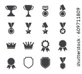 trophy and awards icons set.... | Shutterstock .eps vector #609711809