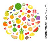 colourful fruits and berry...   Shutterstock .eps vector #609712274