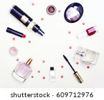 different cosmetics and... | Shutterstock . vector #609712976