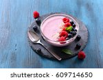 smoothie bowl   smoothie with... | Shutterstock . vector #609714650