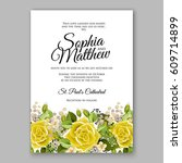 yellow rose floral wedding... | Shutterstock .eps vector #609714899