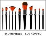 brushes for applying makeup. | Shutterstock .eps vector #609719960