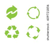 recycle icon set green on white ... | Shutterstock .eps vector #609721856