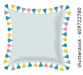 vector grey pillow decorated... | Shutterstock .eps vector #609722780