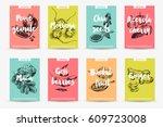 vector hand drawn superfood... | Shutterstock .eps vector #609723008
